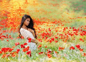 Thai Girl in Poppy Field